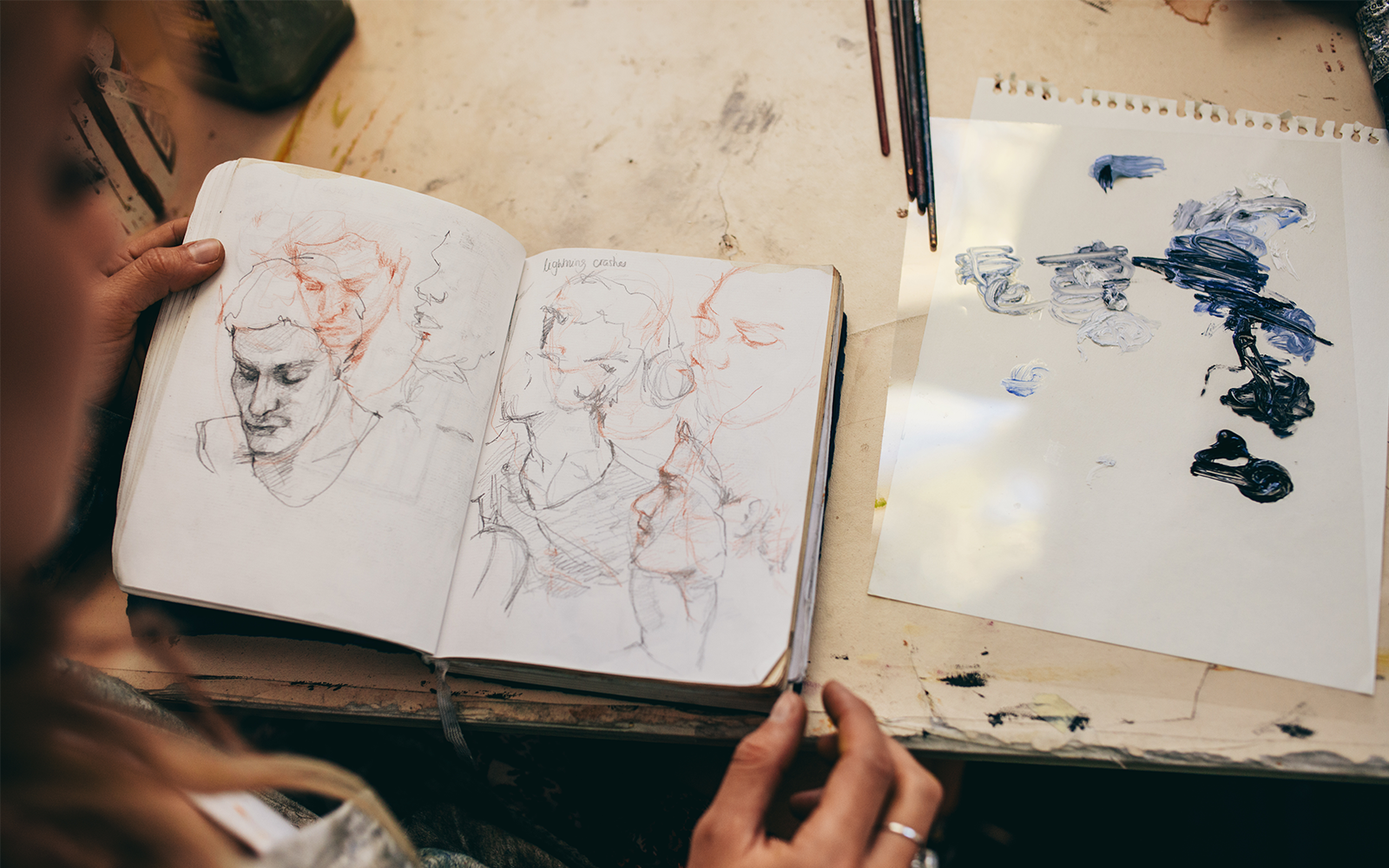 art sketchbook with faces