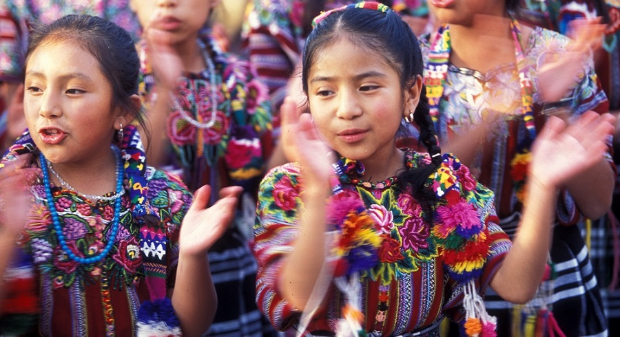 multicultural dance, girls from Guatemala in traditional costume