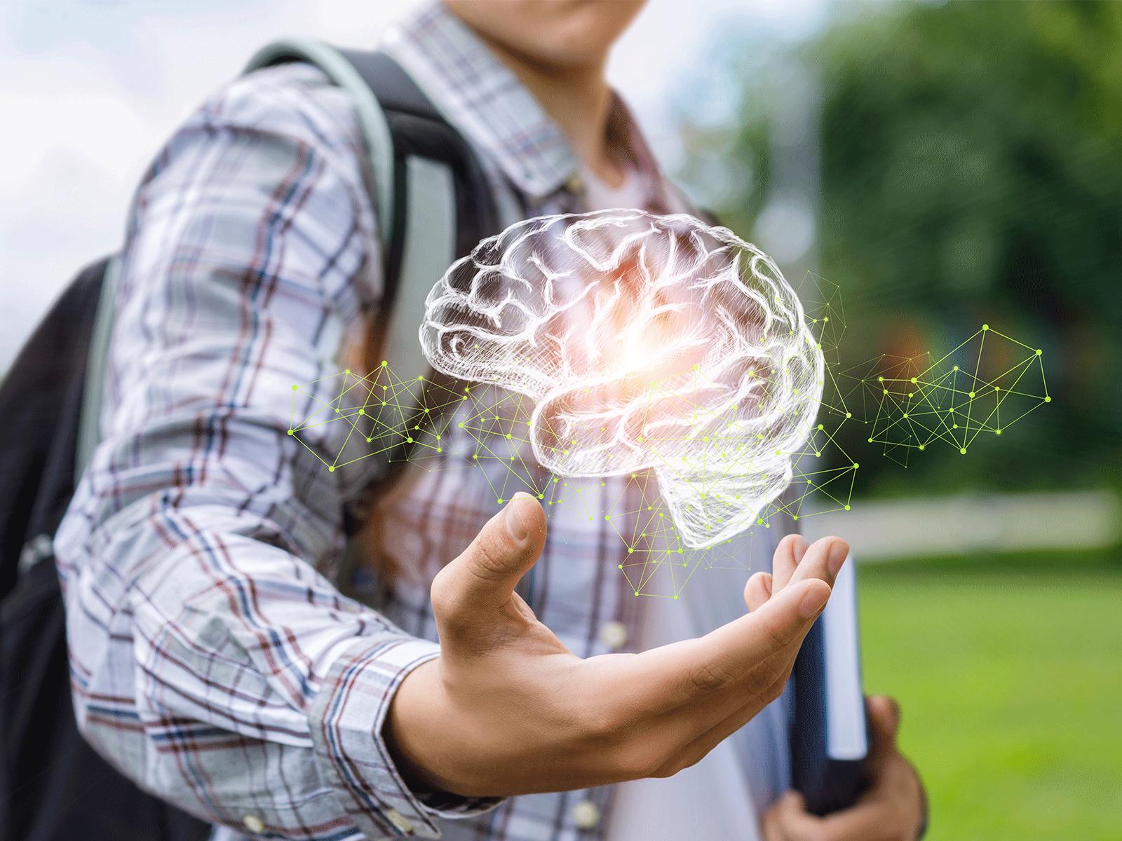 teenager showing brain