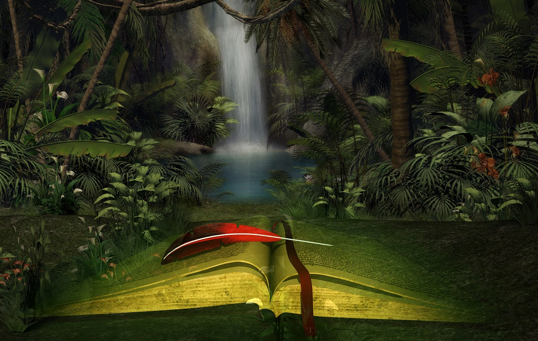 Illustration of an open book in a mystical forest with a waterfall